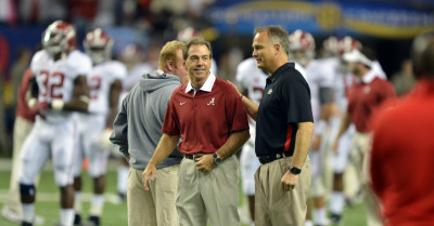 Mark Richt Nick Saban by AJC Brant Sanderlin UGA vs. Alabama 2012 t3B8q