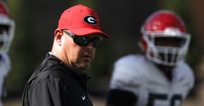 UGA linebackers coach Kevin Sherrer looks on during Wednesday's practice. Sherrer served as Director of Player Development at Alabama before he was named a defensive assistant at the University of Georgia in January 2014.