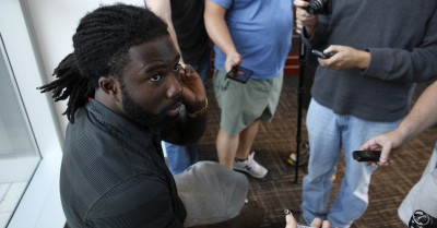 UGA tailback Keith Marshall speaking with the media after Wednesday's practice. (Joshua L. Jones/Special)