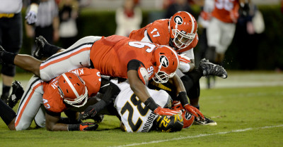Georgia's defense didn't leave Missouri much room to run the ball. (AJC/Brant Sanderlin.)