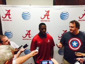 Alabama tailback Kenyan Drake dodged quarterback questions on Thursday. (AJC).