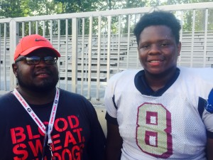Darius Dowdell is a member of the Creekside coaching staff. His son Aaron is an OL commit to UGA. (Jeff Sentell / AJC)