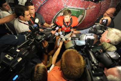 Greyson Lambert was the focus of media attention after Saturday's game. (Sean Taylor / UGA)