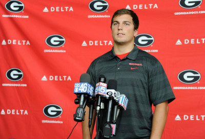 Jake Ganus at UGA's media day prior to the Vanderbilt game. (UGA).