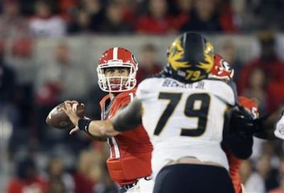 Greyson Lambert's passing mechanics were poor on quite a few throws. (Associated Press)