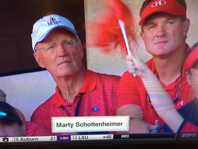 Marty Schottenheimer and Brad Johnson watching the Georgia-South Carolina game.