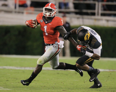 Sony Michel had a quietly productive day despite playing hurt and facing a stout Missouri defense. AJC / CURTIS COMPTON