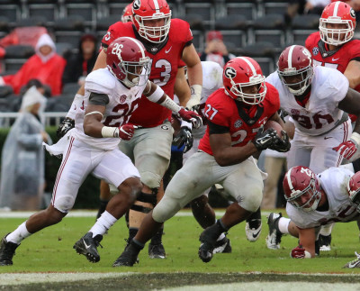 Aside from his one long, record-tying touchdown run, Nick Chubb was basically a nonfactor against Bama. (Andy Harrison / UGA)
