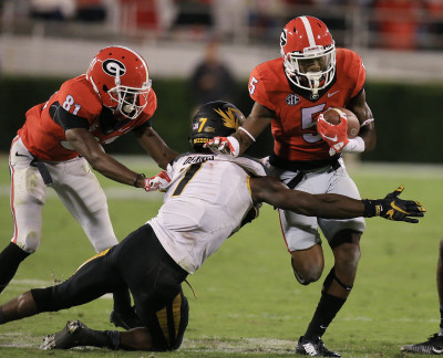 Terry Godwin (5) had a good game catching passes and getting yards-after-catch, but he struggled on his blocking.