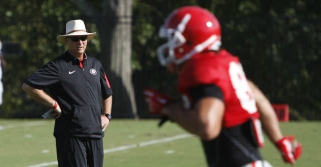 UGA coach Mark Richt looks on during Tuesday's practice. Richt has not had much success in recent years against Steve Spurrier's Gamecocks, winning only one game in the last five meetings. (Joshua L. Jones/ Special)