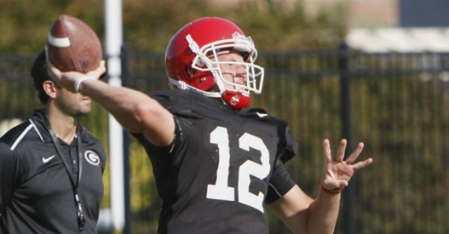 UGA quarterback Brice Ramsey throws a pass during Tuesday's practice. Ramsey has seen only limited time during the Bulldogs' first two games, but has made the most of it going 4-of-6 with a touchdown pass. (Joshua L. Jones/Special)