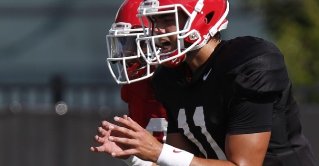UGA quarterback Greyson Lambert (11) yells for the ball during a drill during Wednesday's practice. (Joshua L. Jones/Special)