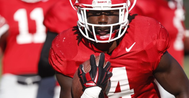 UGA tailback Keith Marshall (4) runs a drill at Tuesday's practice. Marshall had five carries for 24 yards in Saturday's loss at Tennessee. (Joshua L. Jones/Special)
