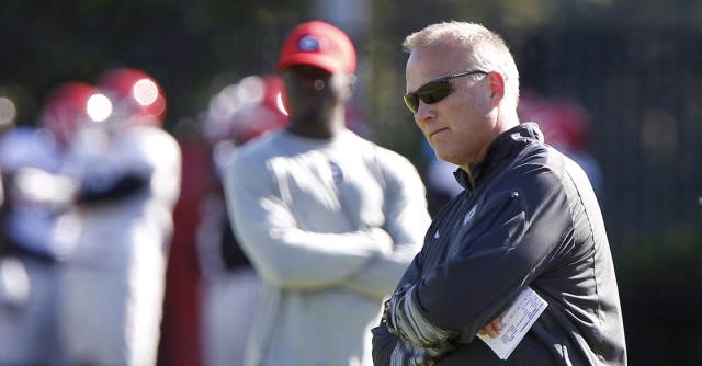 UGA coach Mark Richt looks on at Wednesday's practice. (Joshua L. Jones/Special)