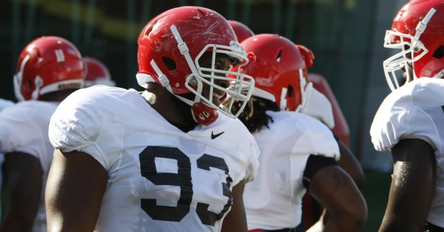 UGA defensive tackle Chris Mayes waits during drills at Tuesday's practice. Mayes has impressed the UGA coaches and was named a captain for Saturday's game against South Carolina. (Joshua L. Jones/ Special)
