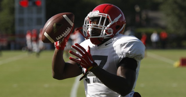 UGA outside linebacker Davin Bellamy finishes a drill during Tuesday's practice. The sophomore earned his first career start on Saturday against Vanderbilt. (Joshua L. Jones/ Special)