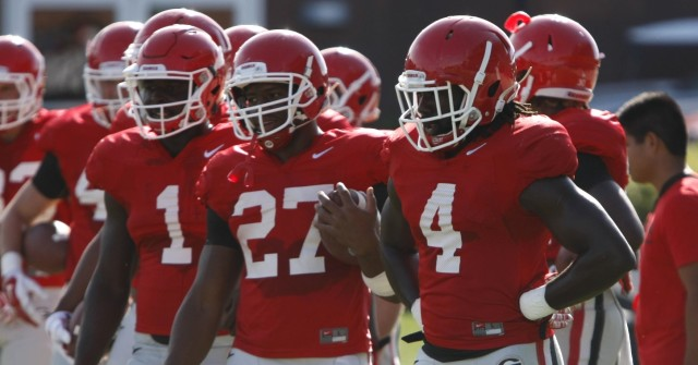 UGA tailback Keith Marshall running back Nick Chubb wait with the other running backs during drills at Tuesday's practice. The ground game has been a bright spot through the Bulldogs' first two games. (Joshua L. Jones/Special)