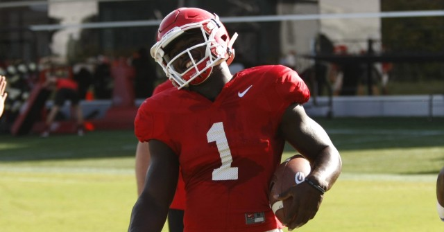UGA tailback Sony Michel smiles after taking a fall during drills at Tuesday's practice. Michel demonstrated the talent that coaches and players have raved about when he broke free for a 31-yard touchdown run against Vanderbilt. (Joshua L. Jones/Special)
