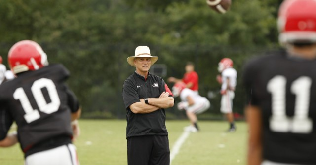 UGA Head coach Mark Richt looks on during quarterback drills during Tuesday's practice.