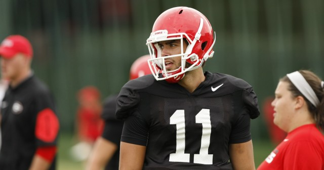 UGA quarterback Greyson Lambert (11) looks on during Tuesday's practice. Lambert set an NCAA, SEC and Georgia record for Best Completion Percentage at 96.0 percent in Saturday's game. (Joshua L. Jones/Special)