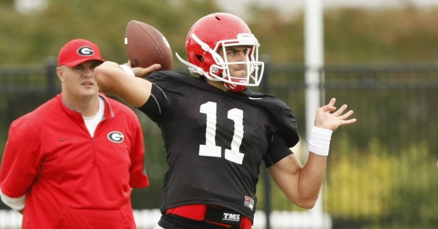 UGA quarterback Greyson Lambert (11) looks for an open wide receiver during Tuesday's practice. Lambert finished 24-for-25 for 330 yards and 3 TDs in last Saturday's win. (Joshua L. Jones/Special)