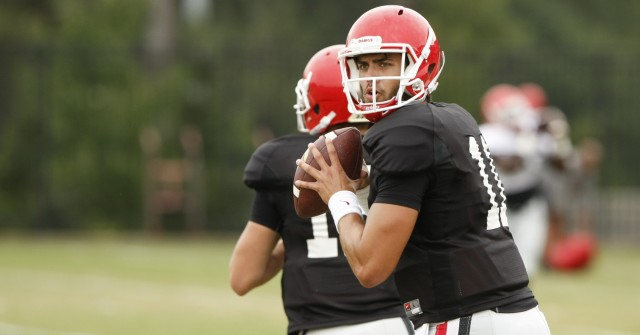 UGA quarterback Greyson Lambert (11) looks for an open wide receiver during Tuesday's practice. (Joshua L. Jones/Special)