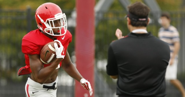 UGA wide receiver Jayson Stanley (2) finishes a drill during Tuesday's practice. (Joshua L. Jones/Special)