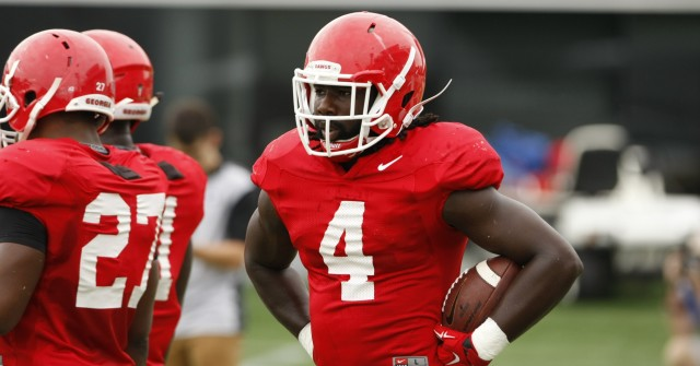 UGA tailback Keith Marshall (4) looks on during Tuesday's practice.