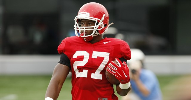 UGA running back Nick Chubb (27) looks on during Tuesday's practice. Chubb rushed for more than 100 yards in his last 11 games, and if he can keep the streak alive he could have a good chance to break Herschel Walker's Georgia record of 13 games with over 100 rushing yards. (Joshua L. Jones/Special)