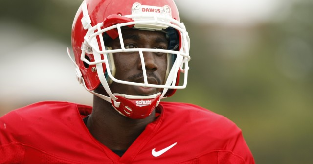 UGA wide receiver Shakenneth Williams (23) finishes a drill during Tuesday's practice. (Joshua L. Jones/Special)