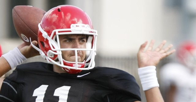 UGA quarterback Greyson Lambert (11) looks for an open wide receiver during Wednesday practice. After three games Lambert is looking for another win this weekend.