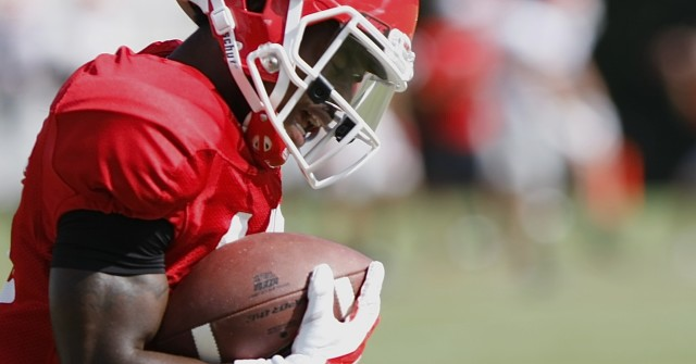 UGA wide receiver Isaiah McKenzie (16) finishes a drill after bringing in a pass during Wednesday's practice.
