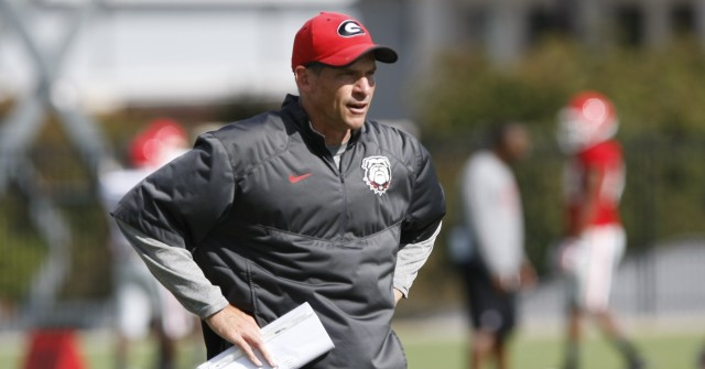 UGA Tight Ends coach John Lilly looks on during Wednesday's practice.