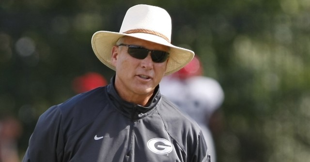 UGA Head coach Mark Richt looks on during Wednesday's practice.