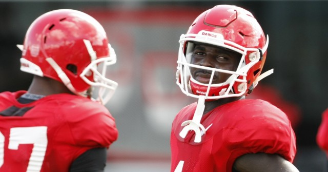 UGA tailback Sony Michel (1) looks on during Wednesday's practice. Michel has been making a name for himself as a all around weapon for UGA offense.