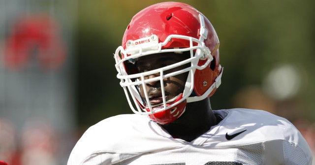 UGA defensive tackle Sterling Bailey (58) looks on during Wednesday's practice.