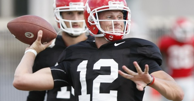 UGA quarterback Brice Ramsey (12) throws a pass during Wednesday's practice. (Joshua L. Jones/Special)