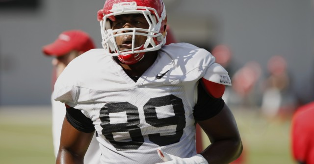 UGA defensive tackle James DeLoach (89) finishes a drill during Wednesday's practice. (Joshua L. Jones/Special)