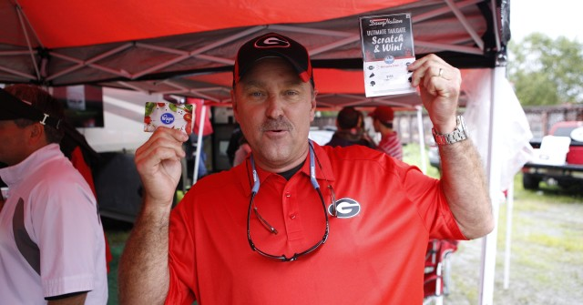 Kenny Futch, from Tifton, Ga, is not letting the rain stop him. (Joshua L. Jones/Special)