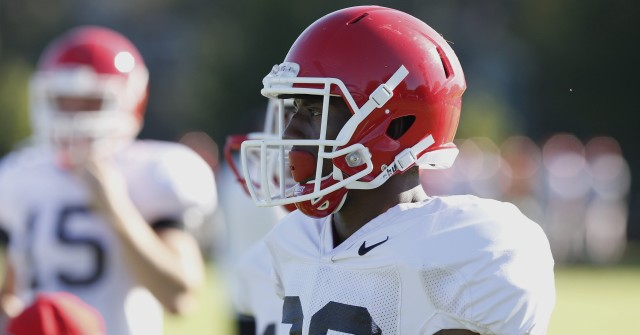 UGA split end Malcolm Mitchell (26) looks on at Tuesday's practice. Mitchell had three receptions fro 65 yards in last Saturday's loss to Alabama. (Joshua L. Jones/Special)