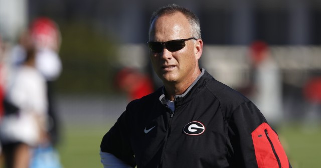 UGA coach Mark Richt looks on during drills at Tuesday's practice.