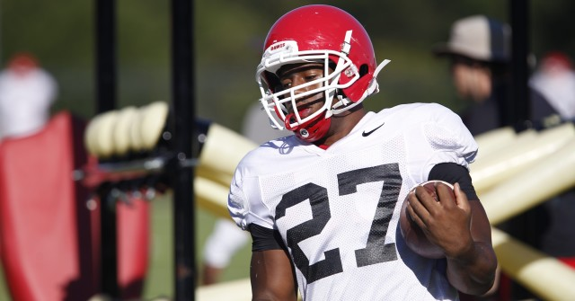 UGA tailback Nick Chubb (27) finishes a drill at Tuesday's practice. Chubb tied Herschel Walker's school record of thirteen games with 100 rushing yards in Saturday's loss to Alabama. (Joshua L. Jones/Special)