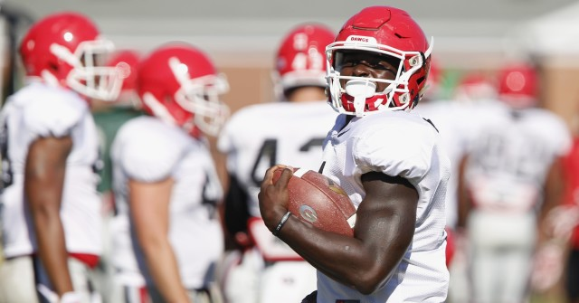 UGA tailback Sony Michel (1) runs a drill at Wednesday's practice. Michel has shown to be a solid back behind tailback Nick Chubb this season. (Joshua L. Jones/Special)