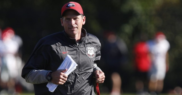 UGA tight ends coach John Lilly at Tuesday's practice. (Joshua L. Jones/Special)