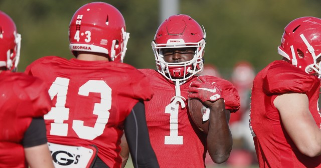 UGA tailback Sony Michel (1) speaks with freshman fullback Nick Moore (43) about ball control at Tuesday's practice. Michel holds the teams running game in his hands moving forward this season. (Joshua L. Jones/Special)