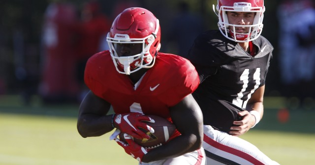 UGA tailback Sony Michel (1) takes a handoff from quarterback Greyson Lambert (11) at Tuesday's practice. Michel had 22 carries for 145 yards in Saturday's loss at Tennessee. (Joshua L. Jones/Special)