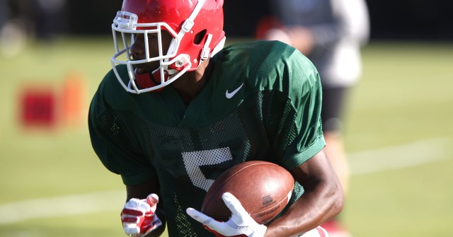 UGA wide receiver Terry Godwin (5) runs a drill at Tuesday's practice. Godwin had no receptions in Saturday's loss at Tennessee. (Joshua L. Jones/Special)