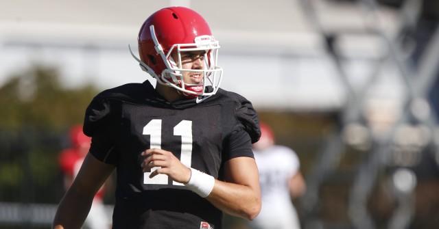 UGA quarterback Greyson Lambert (11) looks on at Wednesday's practice. (Joshua L. Jones/Special)