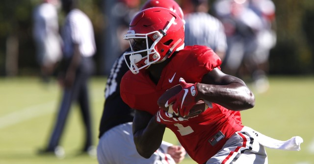 UGA tailback Sony Michel (1) runs a drill at Wednesday's practice. Michel is set to be the teams starting tailback for this Saturday's game against Missouri. (Joshua L. Jones/Special)