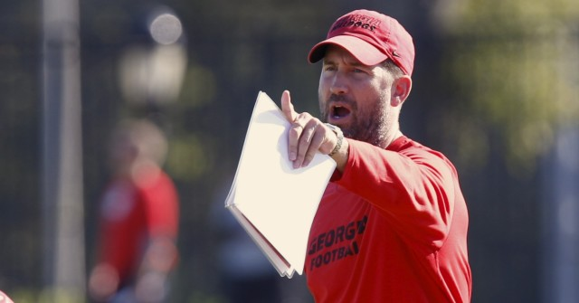 UGA offensive coordinator Brian Schottenheimer calls out commands at Wednesday's practice. Schottenheimer plans to use the bye week to get the offense back in gear. (Joshua L. Jones/Special)